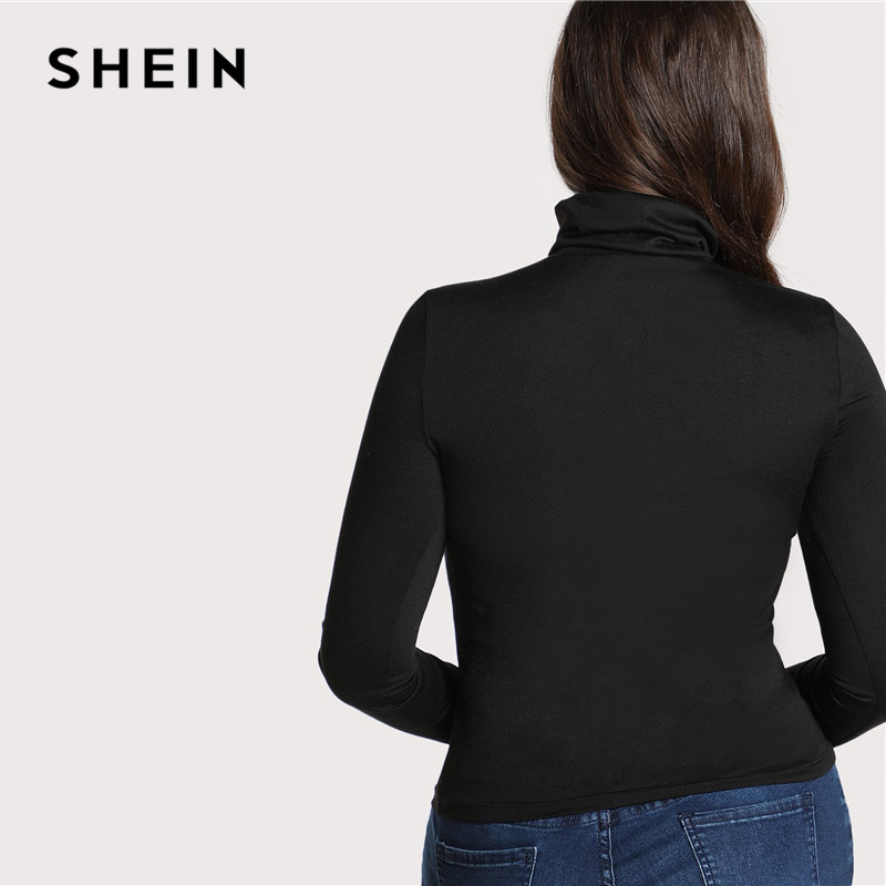 SHEIN Plus Size Black Casual High Neck Long Sleeve Solid Skinny Womens Top Tees 2018 Autumn Winter Slim Fit Turtleneck T Shirt 2