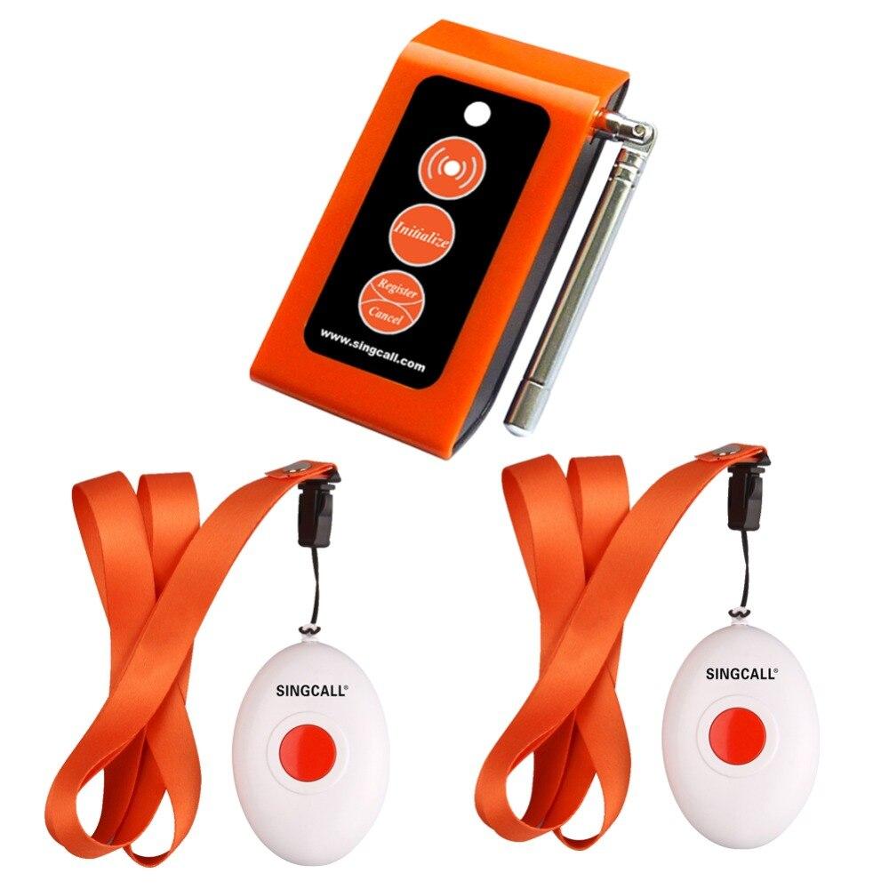 Беспроводная медицинская кнопка вызова SINGCALL. Услуги пейджера, умный уход за двумя кнопками вызова и уход за детьми