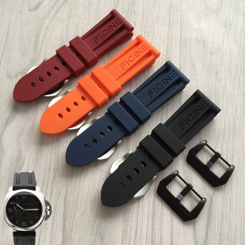 MERJUST 22m 24mm 26mm Black Orange Blue Red Waterproof Silicone Rubber Watchbands Replace  PAM111 Wristband Watch Strap
