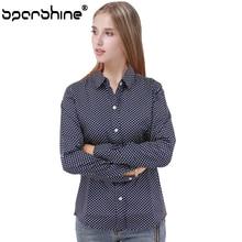 SPARSHINE 2017 Fashion Polka Dot Blouse Long Sleeve Shirt Women Blouses 5XL 100% Cotton Women Shirt Top Female Blusas Women Tops