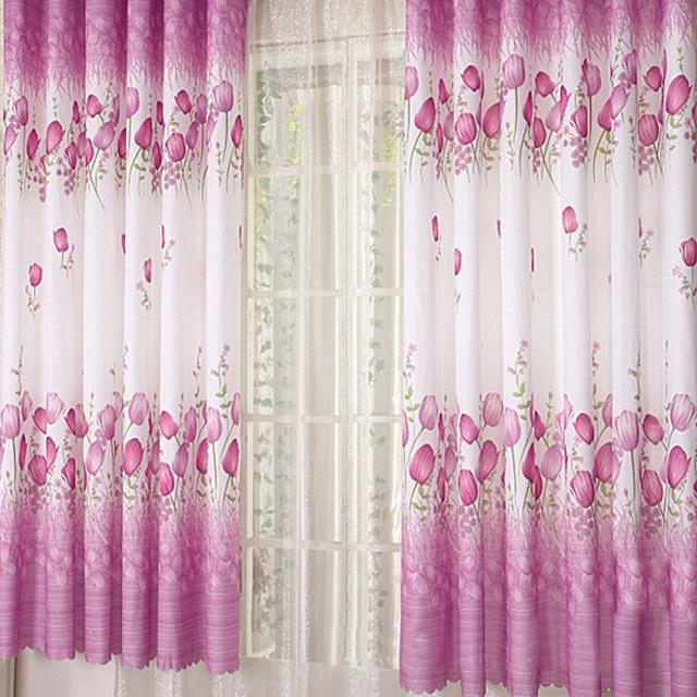 bloemen ontwerp sheer 3 kleuren korte lengte gordijnen schermen tulp printing korte gordijn staaf dragen persiana