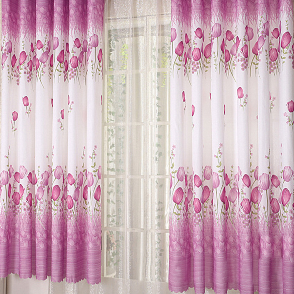 Floral design sheer 3 colors short length window curtains for 3 window curtain design