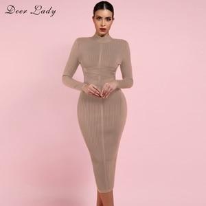 Image 1 - Deer Lady Long Sleeve Bandage Dresses 2019 New Arrivals Summer Women Bodycon Bandage Dress Party Midi Bandage Dresses Elegant