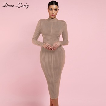 Deer Lady Long Sleeve Bandage Dresses 2019 New Arrivals Summer Women Bodycon Dress Party Midi Elegant
