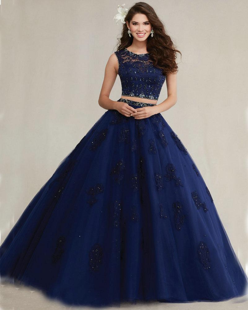 ec6dd889b4 Navy Blush Aqua Blue Quinceanera Dresses Ball Gown 2016 Lace Applique Tulle  2 Piece Quinceanera Dresses See Through Back QD0058