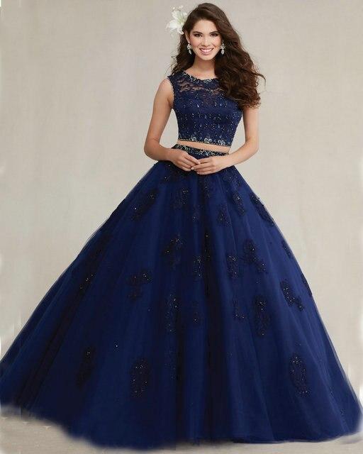 0a1b45a7801 Navy Blush Aqua Blue Quinceanera Dresses Ball Gown 2016 Lace Applique Tulle  2 Piece Quinceanera Dresses See Through Back QD0058