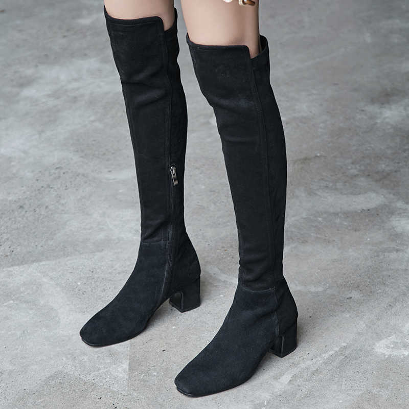 Kadınlar yüksek topuklu diz çizmeler üzerinde hakiki deri bayan elbise ayakkabı kadın kare toe sonbahar bahar çizmeler büyük boy 43