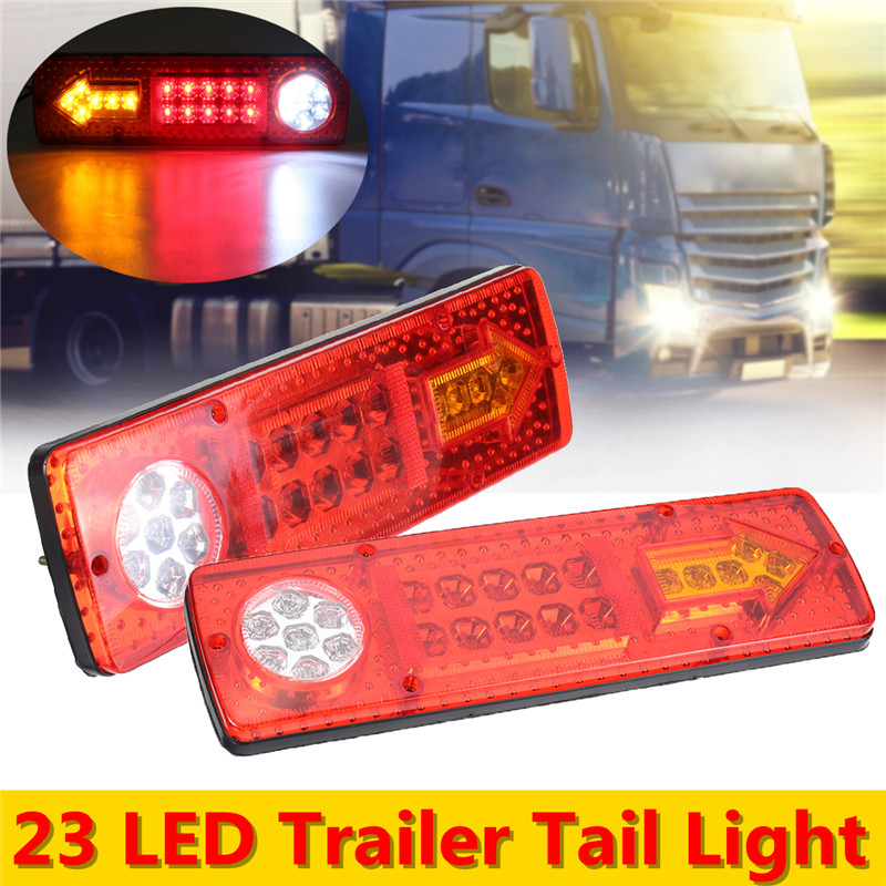 2x 12V 19 LED Trailer Truck Rear Tail Brake Stop Rear Reverse Auto Turn Light Indicator Reverse Lamp Turn Signal Lamp 2pcs 20 led car truck red amber white led trailer waterproof tail lights turn signal brake light stop rear lamp dc 12v cy798 cn