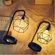 Новинка Ретро железное искусство минималистичный полый Алмазный настольная лампа AA батарея лампа для чтения ночник для спальни прикроватная декоративная лампа