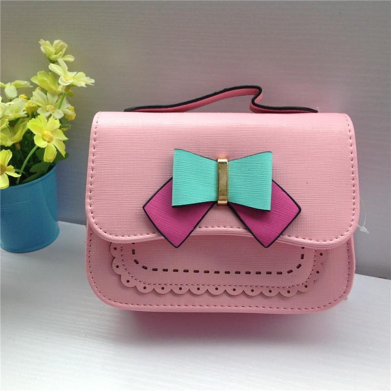2017 Kids Girl Messenger Bags Cute Bow Shoulder Bag Travel Handbags For Girls Small Candy Color Crossbody Bags 2015 women cute bow candy color handbags ladies messenger shoulder crossbody bags mini small quilted chain bags bolsas ba048
