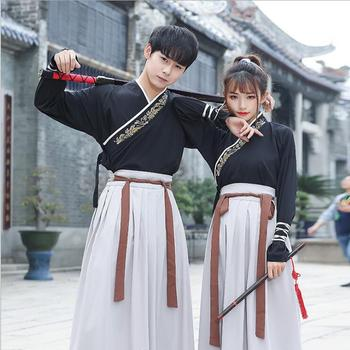 Original traditional Hanfu embroidered cross neckwear swords man woman style dress uniform Special costume Guangdong embroidery