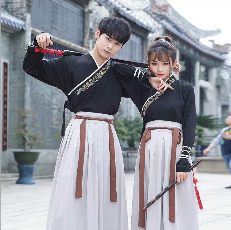 Original traditionnel Hanfu brodé croix foulard épées homme femme style robe uniforme costume spécial Guangdong broderie
