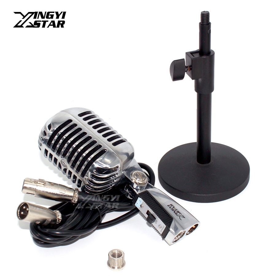 Desktop Stand Wired Vintage Microphone Professional Dynamic Mic With XLR Cable For Power Mixer Console Karaoke KTV Singer Sing цена