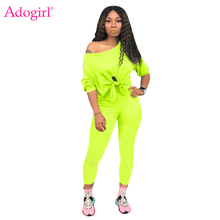 Adogirl Solid Women Casual Two Piece Set Tracksuit Front Tie Off Shoulder Long Sleeve T Shirt Crop Top Pencil Pants Female Suits long sleeve self tie crop top