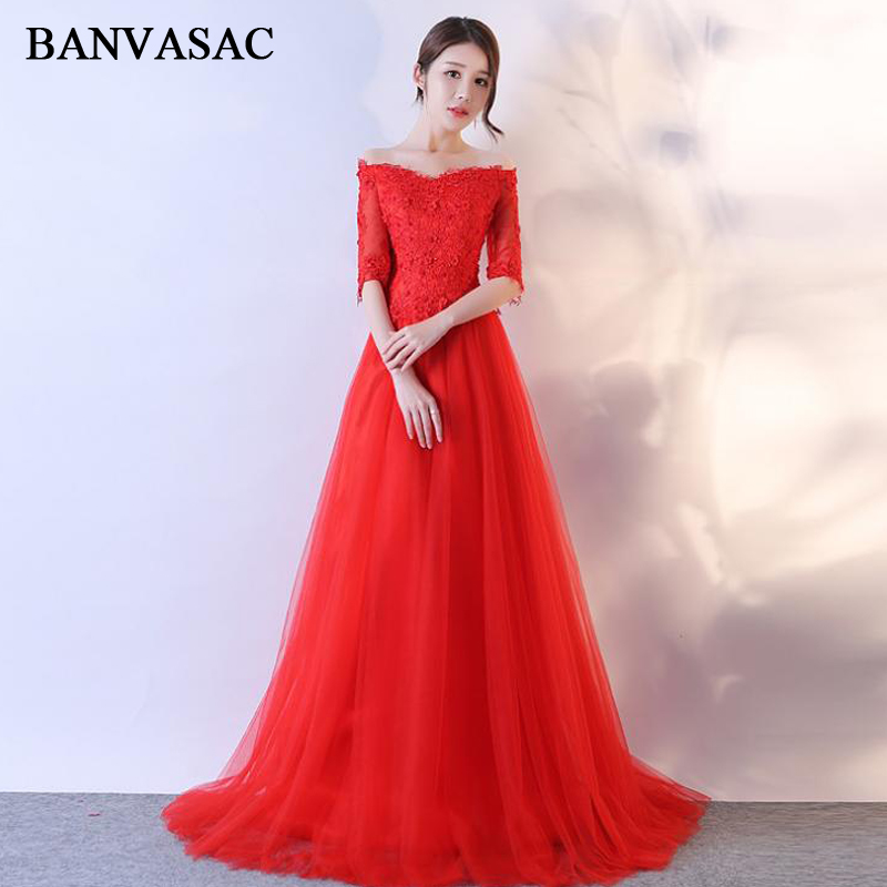 BANVASAC 2018 Boat Neck A Line Lace Appliques Long   Evening     Dresses   Party Sequined Half Sleeve Backless Prom Gowns