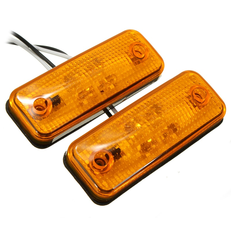 2Pcs 4 LED Amber Side Marker Light Indicator Turn Signals Lamp Bus Truck Trailer Lorry Caravan 12~24V E8 2x 12 24v led side outline stalk marker light lamp e8 e mark trailer truck lorry