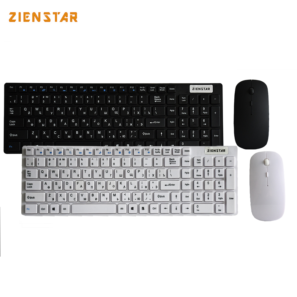 Zienstar Russian English letter 2.4G Wireless keyboard mouse combo with USB Receiver for Desktop,Computer PC,Laptop and Smart TV new russian ru laptop keyboard for lenovo ideapad u530 palmrest keyboard bezel cover touchpad with backlit 90204072 black