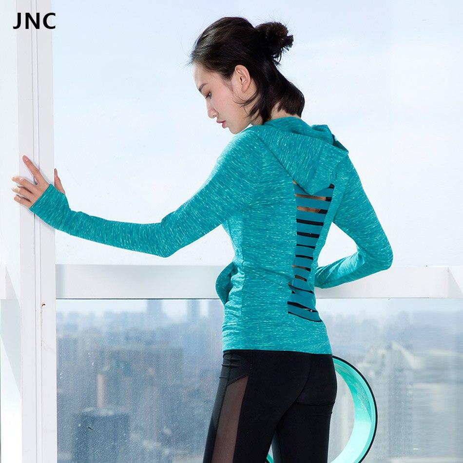 JNC Для женщин Chic с длинным рукавом толстовки выдалбливают сплошной Цвет серый спортивные трикотажные мягкий запуск рубашки синий топ для за...
