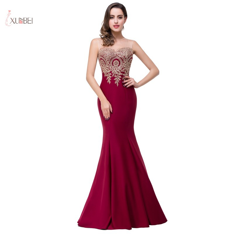 Burgundy   Cocktail     Dresses   2019 Elegant Mermaid Scoop Neck Sleeveless Lace Applique Party Gown robe   cocktail   longue