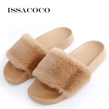 купить ISSACOCO Women's Flat Solid Furry Slippers Faux Fur Slippers Non-slip Plush Fashion Slippers Fluffy Flock Indoor Flat Slippers в интернет-магазине