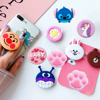 SIANCS Cute 3D Cartoon Round Mobile Phone Holder Anti-Drop Airbag Gasbag Stand Bracket Mount For iPhone X XS XR 8 7 6s Samsung
