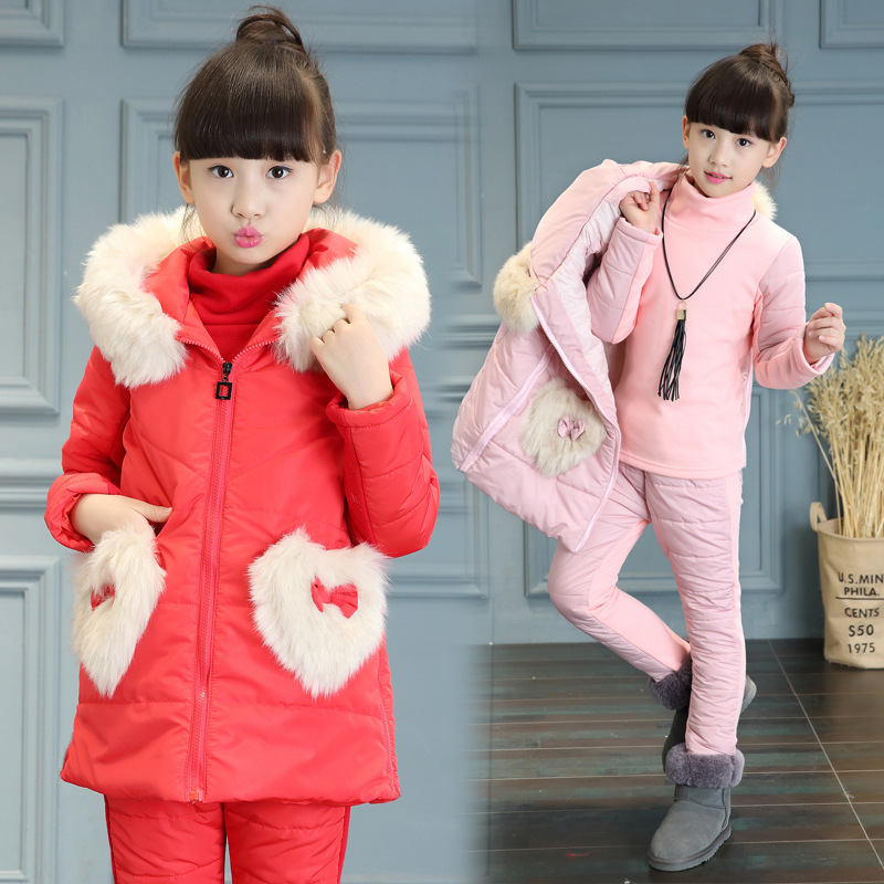 Children Clothing Sets Boys Girls  Winter Warm Kids Clothes Suit Thicker Vest Coat +Sweater+Pants2/3pcs sports suits for girls