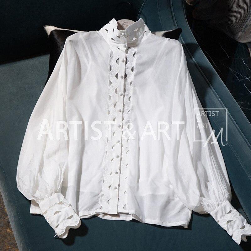 Blouses Blanc Piste Manches Élégant Femmes Chemises Évider Printemps Hauts 2019 Coton Broderie Lanterne AXwdXpPq