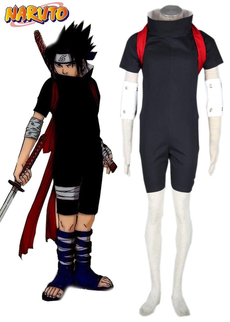 Free Shipping font b Naruto b font Uchiha Sasuke Black Ninja Uniform Anime font b Cosplay