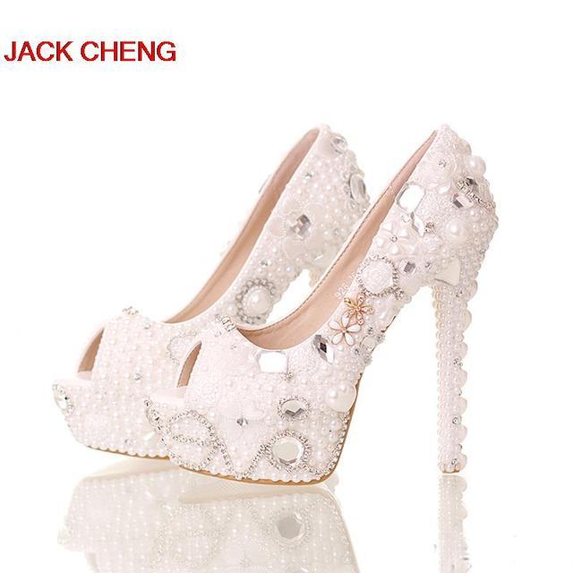 Handmade 14cm High Heels Platform Crystal Bride Formal Shoes Summer Peep  Toe White Pearl Shoes Wedding Bridal Party Prom Pumps e009868049cc