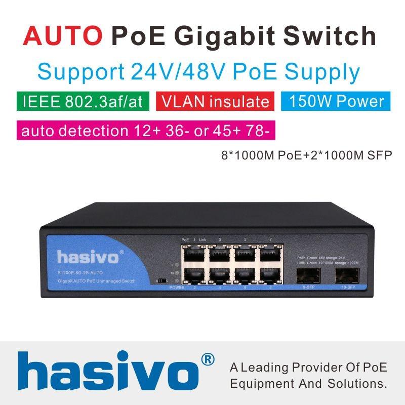 ID automatique 24 V 48 V POE 8 ports commutateur gigabit PoE Ai distinguer la sortie active PD et passive PD POE adaptative