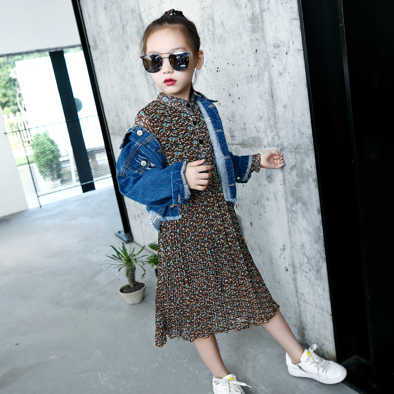 Jeans Jacket For Girls 5 6 7 8 9 10 11 12 13 14 15 Autumn Long Sleeve Ripped Girls Denim Jacket Teenage Baby Coat Kids Clothes