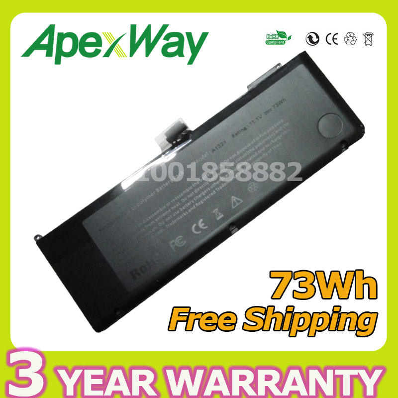 Apexway 73WH 11.1V laptop battery A1321 for Apple MacBook Pro 15