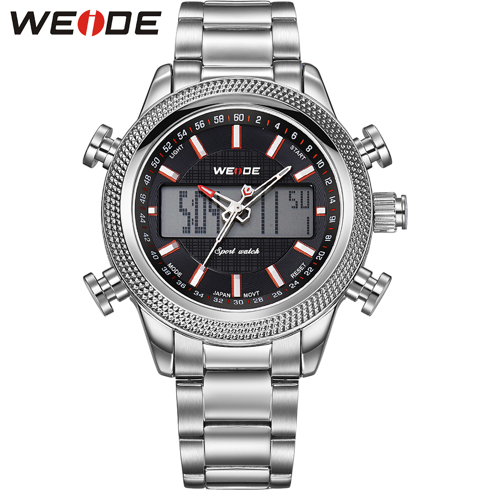 ФОТО WEIDE Men Stainless Steel Wristwatches Quartz Analog Digital Alarm Auto Date Stopwatch Display Waterproof Outdoor Sports Watch