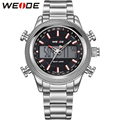 WEIDE Men Stainless Steel Wristwatches Quartz Analog Digital Alarm Auto Date Stopwatch Display Waterproof Outdoor Sports Watch