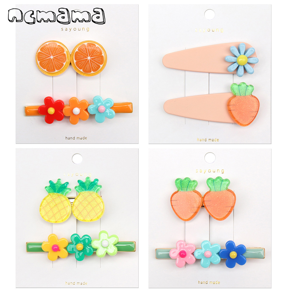 ncmama 2Pcs/Set Korean Hair Clips for Girls Women Lovely Fruit Barrettes Flower Metal Hairgrips Good Quality Hairpin