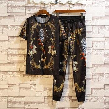 2019 Tracksuit Fashion T Shirts+ Joggers Pants Men/Women Sportswear Sets Male High Street For Men 2 Pieces Set 6XL 7XL