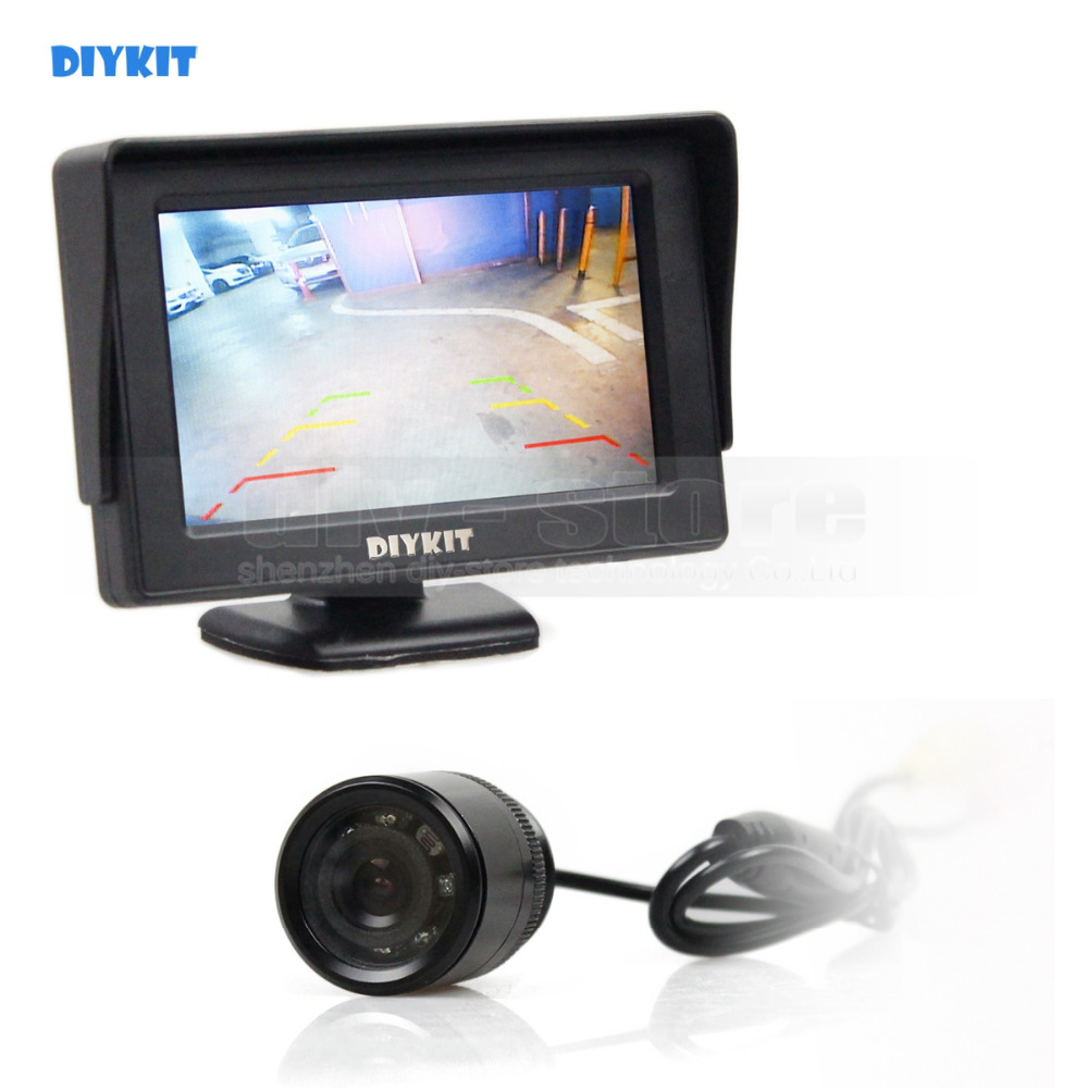 DIYKIT IR Night Vision Waterproof Rear View Backup Car Camera Parking Camer + 4.3 inch LCD Display Car Monitor Parking System ...