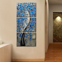 Knife Home Decor Wall Art 3 Piece Pictures Handmade Floral Paintings Hand Painted Abstract Blue Flower