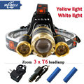Luz branca luz amarela 10000 lumens 3T6 LEVOU Farol faróis CREE XML T6 cabeça frente lâmpada 18650 Bateria Recarregável 2016