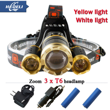 White light  yellow light 10000 lumens 3T6 LED Headlamp headlights CREE XML T6 front head  lamp 18650 Rechargeable Battery 2016