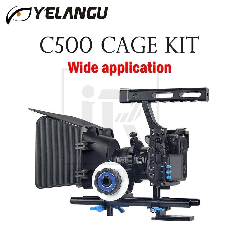 лучшая цена YELANGU C500 Cage Kit For GH4 A7 Wide application DSLR Camera Rig Movie Film Support Stabilizer Follow Focus Matte Box Hand Grip