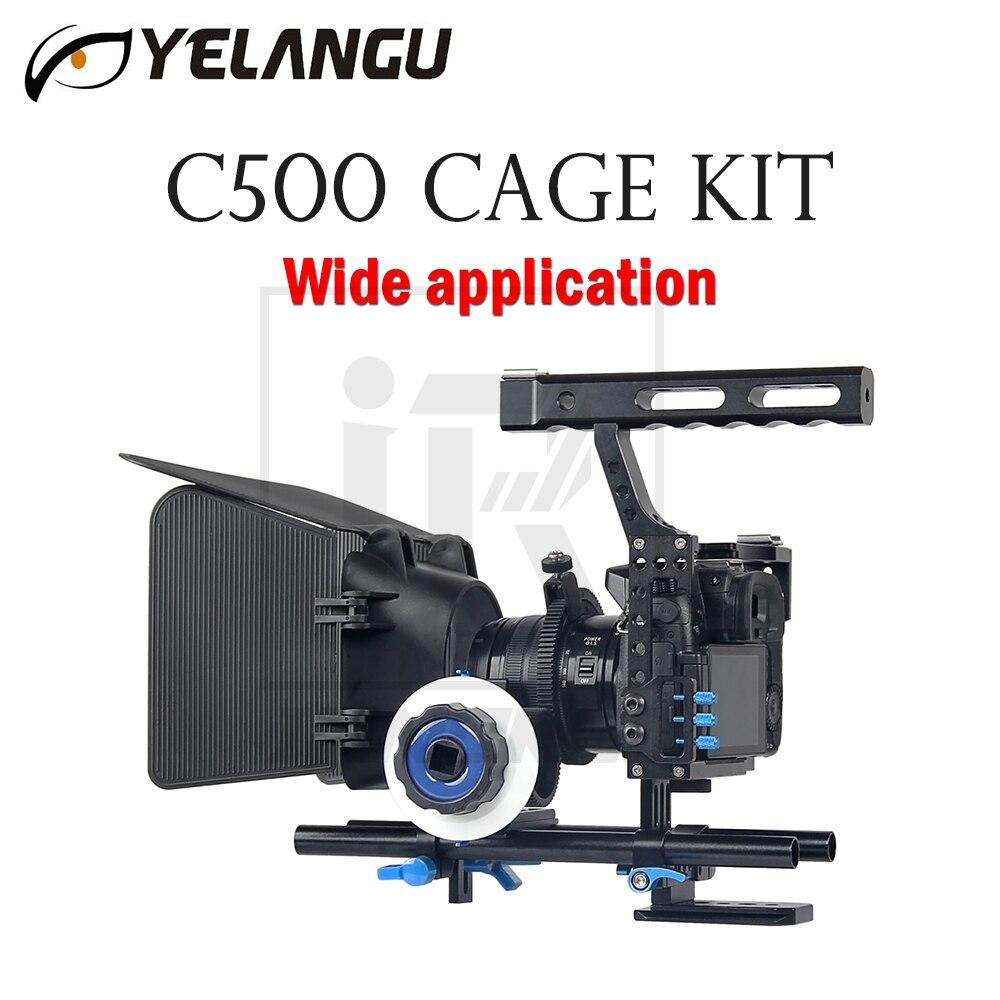 YELANGU C500 Kit Gaiola Para GH4 A7 Ampla aplicação Da Câmera DSLR Rig Filme Filme Apoio Estabilizador Follow Focus Matte Box aperto de mão