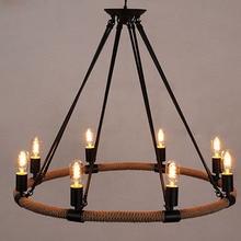 Rope metal pendant light edison bulb pendant lamp for bar coffee dining room lustres para sala de jantar suspension luminaire стоимость