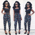 Autumn New Pants Women Full Length Pants Printed Casual Cotton Straight Trousers