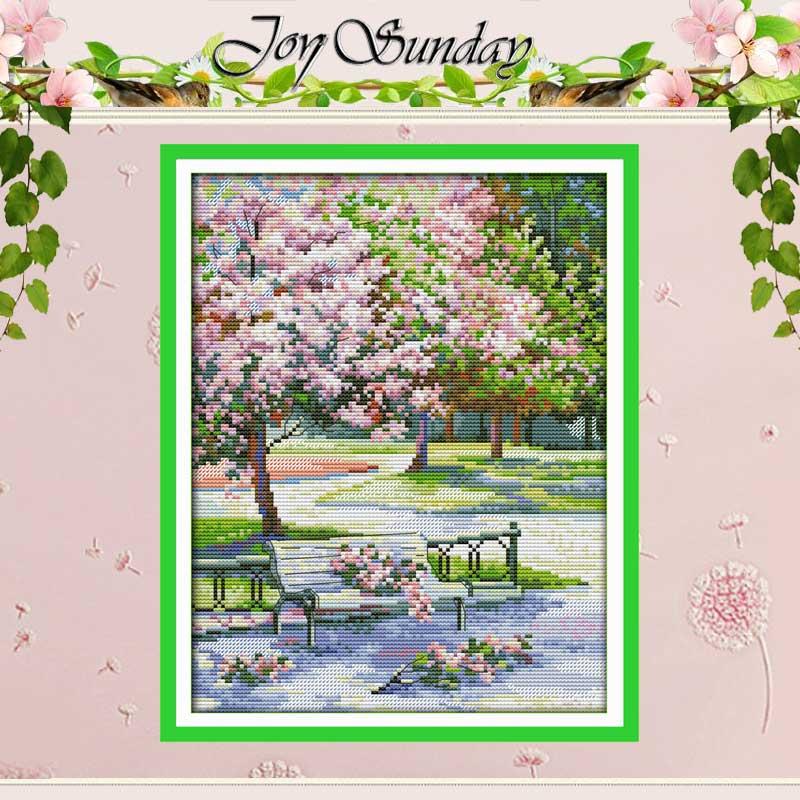 바느질 작업, 공원의 봄 패턴 십자수 스티치 11CT 14CT 프리 크로스 스티치 키트 자수 스티치