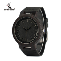 BOBO BIRD C27 Men S Ebony Wood Watches Timepiece Genuine Leather Quartz Watch For Mens Wrist