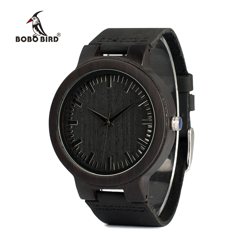 BOBO BIRD Mens Watches Ebony Wood Quartz Watches with Leather Band in Gift Box dropshipping bobo bird wh05 brand design classic ebony wooden mens watch full wood strap quartz watches lightweight gift for men in wood box