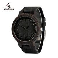 BOBO BIRD C27 Men S Ebony Wood Watches Timepiece Genuine Leather Quartz Watch For Mens Wrist