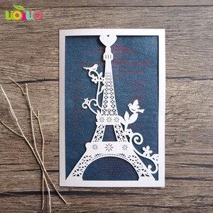 Image 1 - 100 stücke einzigartige Turm liebe hochzeit einladungskarte laser geschnitten papier priniting einladungen modell