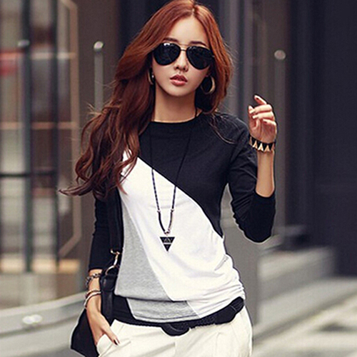 Women's Fashion Long Sleeve T-shirts O-neck Mixed Color Shirt Tee Tops 8VCE5